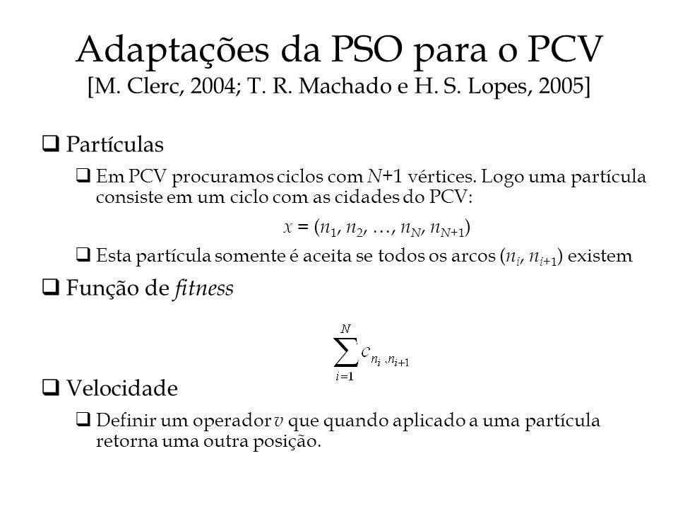 Adaptações da PSO para o PCV [M. Clerc, 2004; T. R. Machado e H. S